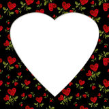 Pattern red heart rose petals on a stalk greeting card  billet. Pattern red heart rose petals on a stalk of green leaves on a white background greeting card Stock Photography