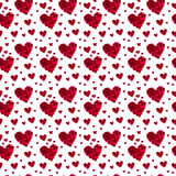 Pattern red heart rose petals. On a white background stock photo