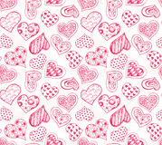 Pattern with red hearts Stock Image