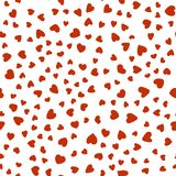 Pattern of red hearts chaotically on white background. Endless pattern of the hearts of 19 kinds, different sizes, are chaotic. Cute for Valentines day and love Royalty Free Stock Photo