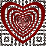 Pattern red hearts and ornament. Stock Photography