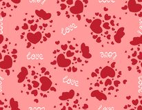 Pattern of red hearts on a pink background. Seamless pattern with romantic red hearts for Valentine`s Day or wedding. Design for fabric print, ornament Royalty Free Stock Image
