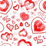 Background pattern with red hearts on white. Pattern with red hearts on white Background stock illustration