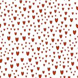 Pattern of red hearts on white background. Endless pattern of the hearts, different sizes, vertical. Cute for Valentines day and love themes Royalty Free Stock Photo