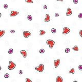 Pattern red hearts on white background Royalty Free Stock Photo