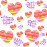 Pattern with red and purple hearts with geometric tracery painted in watercolor on a white background Stock Images