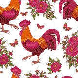 Pattern with red rooster, butterflies and flowers. Hand drawn contoured red rooster, flying butterflies and pink peony flowers on white background. Fire rooster Stock Images