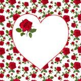 Pattern red rose greeting card  billet Stock Photos