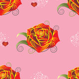 Pattern red rose with hearts on pink background Royalty Free Stock Photo