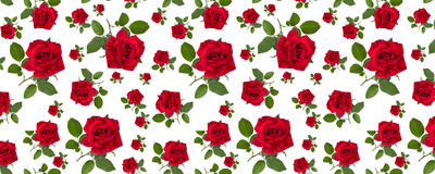 Pattern red rose on a stalk of green leaves Royalty Free Stock Images