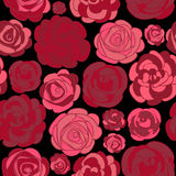 Pattern with red roses on black Stock Images