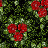 Pattern with of red roses on black background. Stock Photography