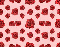 Pattern with Red Roses. Seamless pattern with red roses on a pink background. Vintage design for decoration, textile and fabric prints, gift wrap for wedding Royalty Free Stock Photo