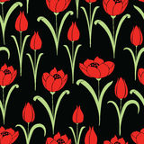 Pattern of the red tulips Royalty Free Stock Images