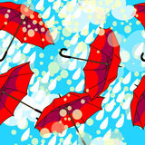 Pattern with red umbrellas Royalty Free Stock Photo