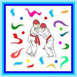 Judo, Pattern, regular motif, tablecloth, picture Stock Images