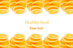 Pattern of repeating stacks of sliced oranges on a white background. Pile of slices of juicy orange. Isolated. Decorative Fruit fr Stock Image
