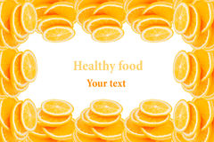 Pattern of repeating stacks of sliced oranges on a white background. Pile of slices of juicy orange. Isolated. Decorative Fruit fr Royalty Free Stock Photo