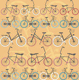 Pattern with retro bicycles. Hipster pattern with retro bicycles for your designs Royalty Free Stock Photos