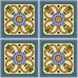Pattern retro ceramic tile design with floral ornate. Endless texture. Royalty Free Stock Images