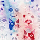 Pattern of retro hipster animal portraits Royalty Free Stock Images