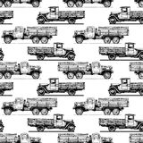 Pattern with retro lorry Stock Photography