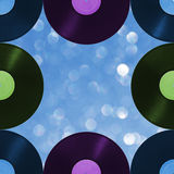 Pattern retro music on blur background, seamless. Royalty Free Stock Photography