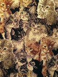 Pattern of a retro tapestry. Closeup of a retro tapestry fabric pattern with cats Royalty Free Stock Image