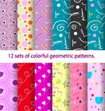12 pattern Retro vintage 80s or 90s fashion style. Retro vintage 80s or 90s fashion style. Memphis seamless patterns set Stock Photos