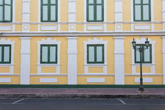 Pattern of the road beside yellow building. Pattern of the road beside the yellow building Stock Photos