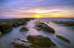 Pattern Of Rock During Sunset/Sunrise at Tip of Borneo,Sabah,Mal Stock Photography