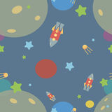 Pattern with rockets, stars, cosmos Royalty Free Stock Image