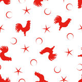 Pattern with rooster. Vector seamless pattern with red rooster silhouette, star and circle Stock Image
