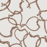 Pattern of rope hearts Stock Photos
