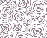 Pattern with rose blossoms on a white background. Simple vintage floral background. Ornament with painted pink flowers Blue-gray c Stock Image