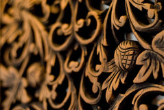 Pattern of rose carved on wood Royalty Free Stock Photo