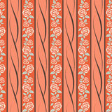 Pattern with roses. Seamless pattern with pastel roses over orange background Stock Image