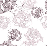Pattern with roses and birds Royalty Free Stock Photography