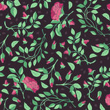 Pattern of roses and branches on a maroon background Royalty Free Stock Images
