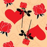 Pattern of roses and hearts Royalty Free Stock Images