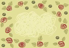 Pattern_roses_olive_card Stock Photo