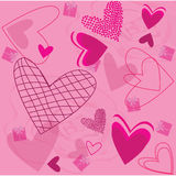 Pattern Roses and Pink Hearts Royalty Free Stock Photography