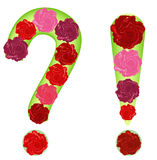 Pattern of roses in the shape of a question mark and exclamation point Royalty Free Stock Images