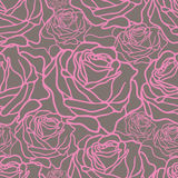 Pattern with roses. Vector seamless pattern with pink roses on grey background Stock Image