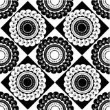 Pattern of round black and white ornaments. Pattern of round black and white oriental ornaments Royalty Free Stock Photo
