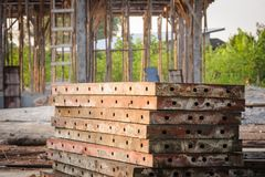 Pattern row metal form work in building site. Royalty Free Stock Photo