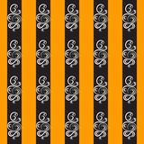 Pattern of rows of black on an orange background. The pattern of black on orange series. Abstract patterns. The pattern in the form of white clouds royalty free illustration