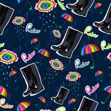 Pattern with rubber boots, umbrella and cloud. Royalty Free Stock Image