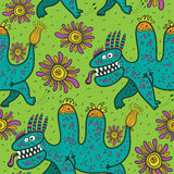 Pattern running green dinosaurs and flowers on a green background Stock Photo