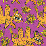 Pattern, running yellow dragons Royalty Free Stock Photo